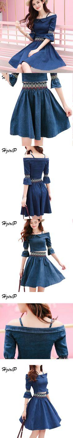 HziriP Women Embroidery Off Shoulder Bandage Denim Skirts Tops Girls Suits Elastic Waist Vestidos Crop Shirts Plus Size 2 Pieces