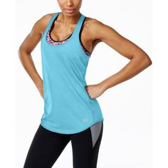 Under Armour Streaker Racerback Running Tank Top ($28) ❤ liked on Polyvore featuring activewear, activewear tops, sky blue, under armour and under armour sportswear