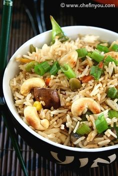 Cashew Fried Rice Recipe - Chinese styled fried rice recipe enhanced with Cashews. Simple and quick to put together.