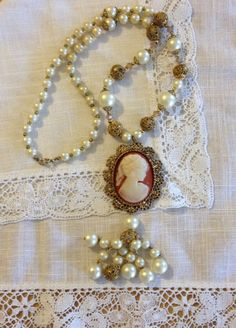 Pearl Beaded Filigree Cameo Tassel Necklace from by heartsoftoday, $40.00