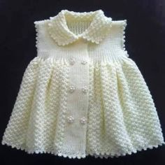 38 Trendy Knitting Baby Vest Little Girls Baby Knitting Patterns, Knitting For Kids, Crochet For Kids, Baby Patterns, Crochet Baby, Free Knitting, Knit Baby Dress, Knitted Baby Clothes, Baby Cardigan