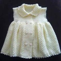 Kız çocukları için çift pirinç örgüden yakalı örgü bebek elbisesi modeli yapılışı Anlatımlı