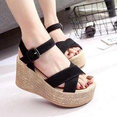 45ef7200a25  EBay  Dijigirls Summer Buckle Women S Sandals Velvet Flock Fish Mouth  Fashion High Heel Platform