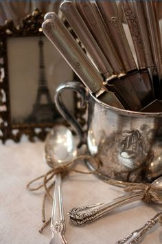 Silver even in the rough is wonderful on display in a creative way - and of course a great centerpiece for the rustic vintage weddings