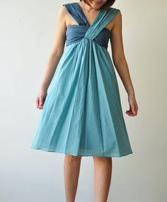 Feel So Good II...Blue Halter Maxi Cotton dress by aftershowershop