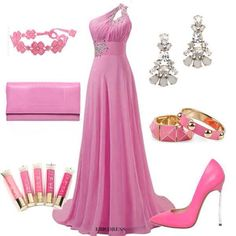 pinkcolored trendy fashion outfits and accessories with long flowy floor length dress and accessor. Party Dress Outfits, Evening Outfits, Pink Outfits, Pretty Outfits, Evening Dresses, Prom Dresses, Formal Dresses, Wedding Dresses, Prince Héritier