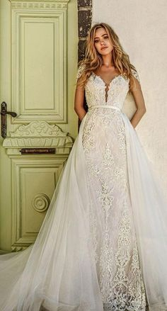 ddfa37dadb2 eva lendel 2017 bridal short sleeves deep plunging v neckline full  embellishment elegant glamorous sheath wedding dress a line overskirt open  v back chapel ...