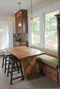 Image Detail for - ... eat-in kitchen with custom table and long bench seat with storage