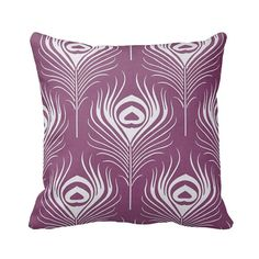 Zippered Plum Peacock Feather Throw Pillow Cover by Primal Vogue™ - Various Sizes 14x14 16x16 18x18 20x20 24x24 Square and Lumbar Custom