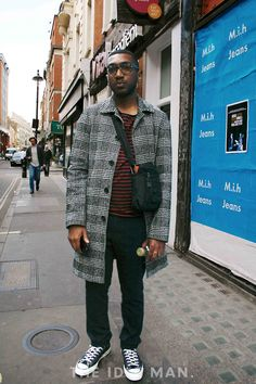 Men's Street Style | Print on Print - Mixing up the prints with a stripe/tweed combo, keeping it paired down with a classic pair of black converse. | Shop the look at The Idle Man