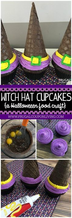 Halloween Witch Hat Cupcakes on Frugal Coupon Living and other Food Crafts for Kids for October. Halloween Witch Hat Cupcakes on Frugal Coupon Living and other Food Crafts for Kids for October. Halloween Desserts, Halloween Cupcakes, Halloween Food Crafts, Recetas Halloween, Halloween Witch Hat, Halloween Goodies, Holidays Halloween, Halloween Kids, Halloween Treats