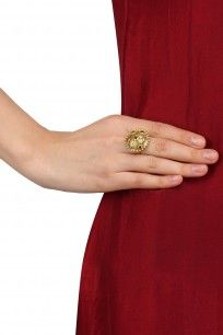 Antique Gold Finish Jaal Pattern Ring #mineofdesigns #shopnow #ppus #happyshopping