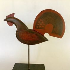 rooster weathervane - a hand made reproduction of an C. weathervane made in New England Weather Vanes, Steel Rod, Sculpture, Milk Paint, Vintage Wood, Bird Art, Wood And Metal, Folk Art, Arts And Crafts
