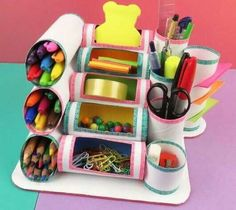 MINI ORGANIZER mit Rollen Toilettenpapier oder Küche – Fotoliste Diy Paper Crafts diy crafts out of toilet paper rolls Kids Crafts, Cute Crafts, Crafts For Teens, Easy Crafts, Diy And Crafts, Craft Projects, Arts And Crafts, Kids Diy, Preschool Crafts