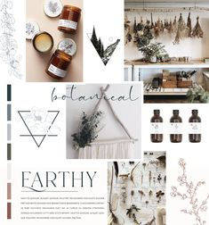 Botanical and earthy mood board created for Botanic Alps. Botanic Alps is a massage and aromatherapy practitioner that also creates products with essential oils for healthy living. Candle Branding, Branding Kit, Branding Design, Branding Ideas, Website Design Layout, Website Design Inspiration, Brand Inspiration, Daisy, Presentation Layout