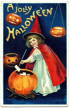 Vintage Image- Sweet Little Witch Girl