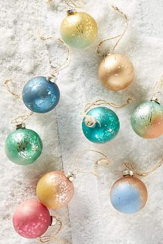 Christmas Decor: Dip-Dyed Ornament Set (Anthropologie)