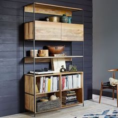 "Industrial Modular 49"" Open + Closed Storage #westelm"