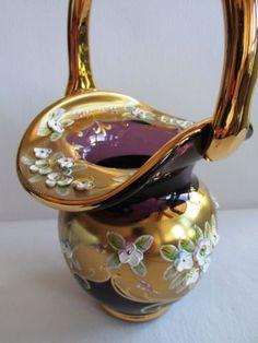 Váza - košík * smaltované, ručně malované fialové sklo * Sklárna Slávia CZ ♥