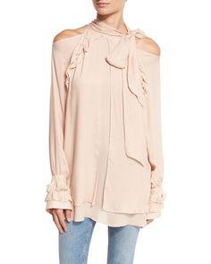 Frejan Voile Cold-Shoulder Top, Pink Sand