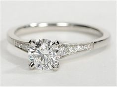 Home » Wedding Ideas » 30+ Stunning Engagement Rings Nobody Can Resist! » Petite Milgrain Diamond Engagement Ring in Platinum