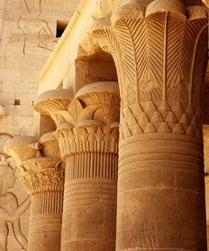 Egyptian columns- Lotus and Papyrus style columns. often elements resemblede either a trunk or a bundle of stems from plants. Many times there was a plant theme.  •Stone shafts carved to resemble tree trunks or bundled reeds or plant stems  •Lily, lotus, palm or papyrus plant motifs on the capitals (tops)  •Bud-shaped or campaniform (bell-shaped) capitals  •Brightly painted carved relief decorations