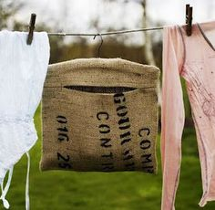 Feed Sack Clothes Pin holder.  I just made one but this one is adorable!
