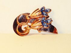 Vintage Art Deco Gold Plated Blue by delightfullyvintage on Etsy