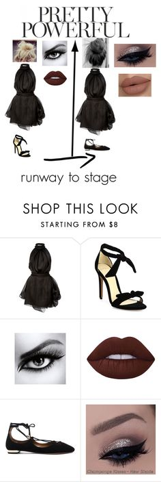 """runway to stage"" by amelia139 ❤ liked on Polyvore featuring Brandon Maxwell, Alexandre Birman, L'Oréal Paris, Lime Crime and Aquazzura"