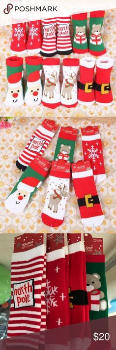 New 4x Pairs 3-5 Year Old Christmas Socks Great gift for the holidays.  Super Soft   All brand new Accessories Socks & Tights