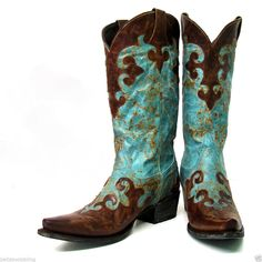 Lane Western Boots Cowboy Dawson Turquoise & Brown