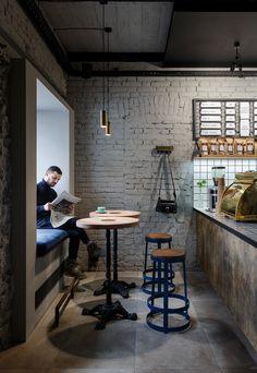 N o t t d e s i g n industrial cafe, industrial coffee shop, industrial restaurant, industrial shelving,