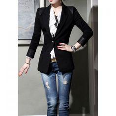 Wholesale Fashionable Slim Fit Long Sleeved Black Blazer For Women (BLACK,L), Blazers - Rosewholesale.com