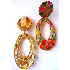 Jose Maria Barrera Avon Fashion Flowers brooch and earrings vintage ($150) ❤ liked on Polyvore featuring jewelry