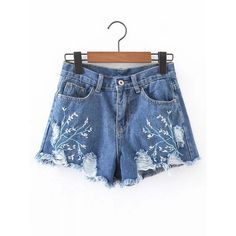 Ripped Detail Embroidery Denim Shorts ($24) ❤ liked on Polyvore featuring shorts, embroidered shorts, distressed jean shorts, rock-revival shorts, ripped denim shorts and distressed shorts