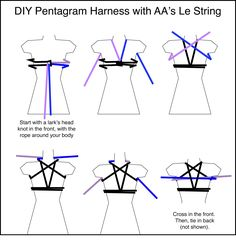 DIY Pentagram Harness with AA's Le String Stan wun a Iark's head knot m the Omni, wnh me rope around your body Cross in me lront. Then, (ie m back - iFunny :) Diy Goth Clothes, Japanese Rope, Rope Knots, Rope Braid, Rope Tying, Rope Art, American Apparel, Sewing, 5th Avenue