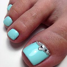 Blue-Rhinestone Toe NailArt