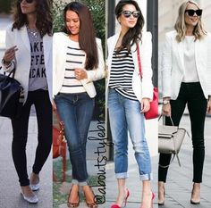 Swans Style is the top online fashion store for women. Shop sexy club dresses, jeans, shoes, bodysuits, skirts and more. White Jacket Outfit, White Blazer Outfits, Casual Work Outfits, Business Casual Outfits, Mode Outfits, Chic Outfits, Spring Outfits, Fashion Outfits, Blazer Off White