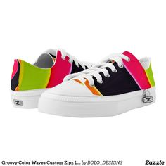 Groovy Color Waves Custom Zipz Low Top Kickers