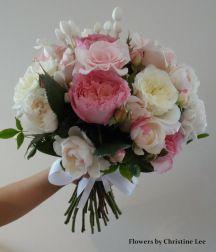 Cream David Austin and pink roses bridal bouquet #sunpetalsflorist