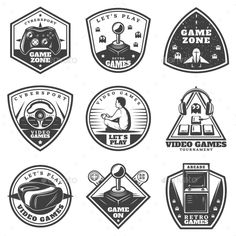 Vintage Monochrome Video Game Labels Set