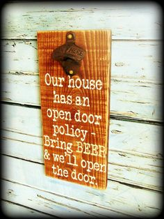 Rustic Wooden Bottle Opener Sign Man Cave Decor
