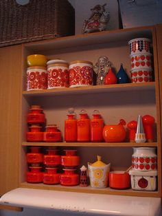 anything mid century & orange. start with the holmegaard, arabia, staffordshire pictured. Sharpie Art, Sharpies, Kitchen Collection, Grey Paint, Kitchen Items, Little Houses, Earthenware, Vintage Kitchen, Finland