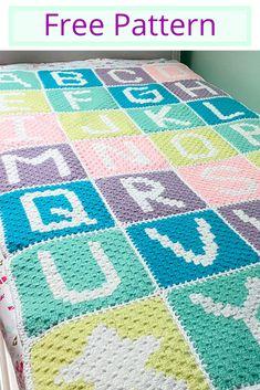 Free corner to corner crochet Alphabet blanket pattern. Crochet Puntada Bobble, Bobble Stitch Crochet Blanket, Pixel Crochet, Granny Square Crochet Pattern, Afghan Crochet Patterns, Star Wars Crochet, Crochet Afghans, Crochet Baby, Crochet Alphabet Letters
