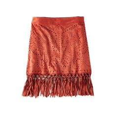 AEO Faux Suede Fringe Skirt (195 BRL) ❤ liked on Polyvore featuring skirts, faux skirt, red knee length skirt, suede fringe skirt, american eagle outfitters and red skirt