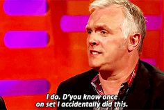 [GIF set] Greg Davies talks about his resemblance to late Rik Mayall (who played his dad in sitcom Man Down)