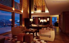 Chalet Solais – Swiss luxury ski chalet perched above the clouds in Villars, with Sir Norman Foster's architecture and Callender Howorth's interior design. Chalet Design, House Design, Norman Foster, Interior Photo, Interior Design Studio, Rustic Interiors, Interior Architecture, Interior Decorating, Luxury