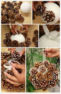 DIY Pinecone Poms for Winter Weddings. A budget-friendly way to create a chic winter look all your own wiht this pom balls with pine cones for your winter occasion. Handmade Christmas Crafts, Christmas Projects, Holiday Crafts, Christmas Holidays, Christmas Ideas, Natural Christmas, Country Christmas, Pine Cone Decorations, Christmas Decorations