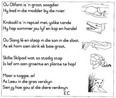 Ou Olifant is 'n groot soogdier, hy bad in die modder by die rivier Grade R Worksheets, School Worksheets, Toddler Learning Activities, Kids Learning, Afrikaans Language, School Songs, Bible Crafts For Kids, Rhymes Songs, Teachers Aide