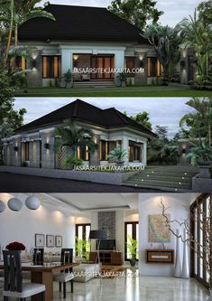 Desain rumah minimalis dengan luasan 240m2 berlokasi di Kab Bone Sulawesi Selatan. Modern Bungalow House, Bungalow House Plans, Craftsman House Plans, New House Plans, Single Floor House Design, House Front Design, My Home Design, Beautiful House Plans, Duplex Design